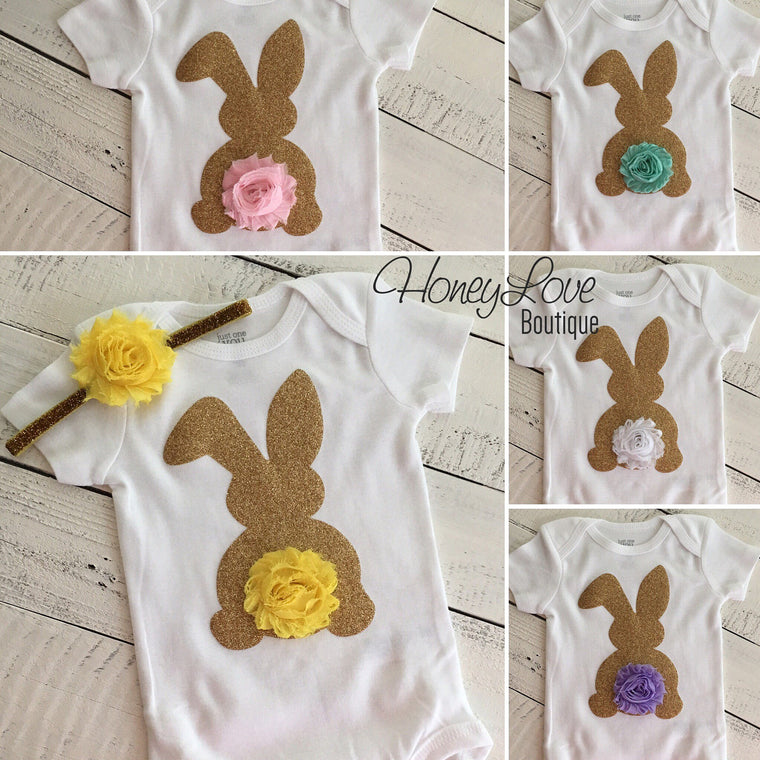 Easter Bunny glitter bodysuit - optional headband - HoneyLoveBoutique