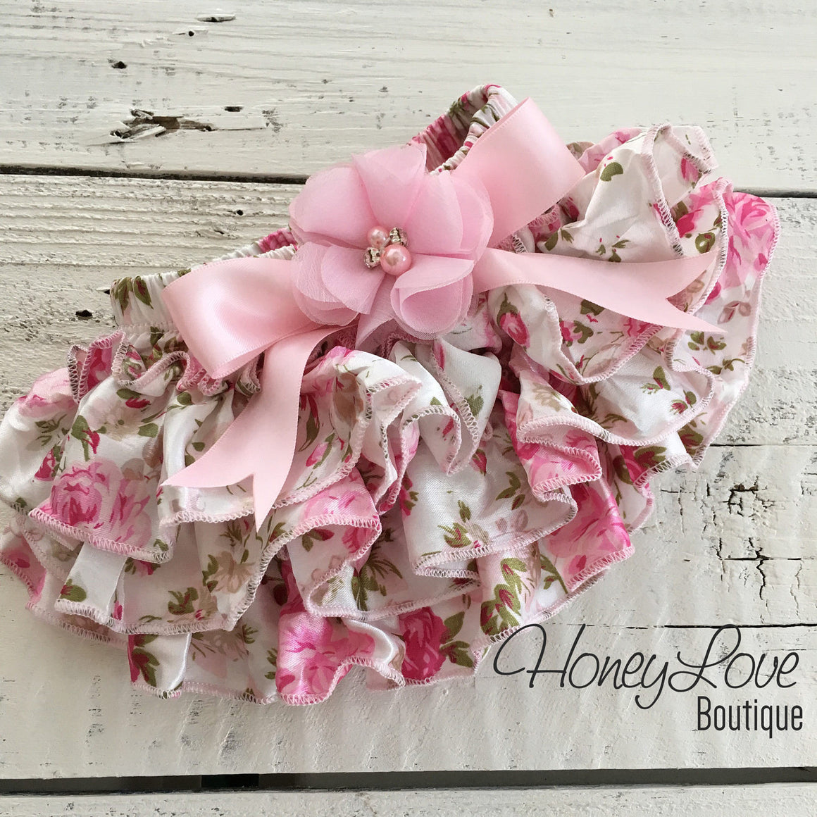 Pink Floral Satin Bloomers - Embellished bow