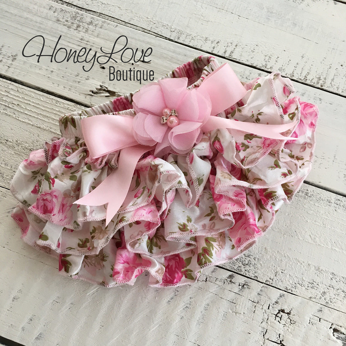 Pink Floral Satin Bloomers - Embellished bow - HoneyLoveBoutique