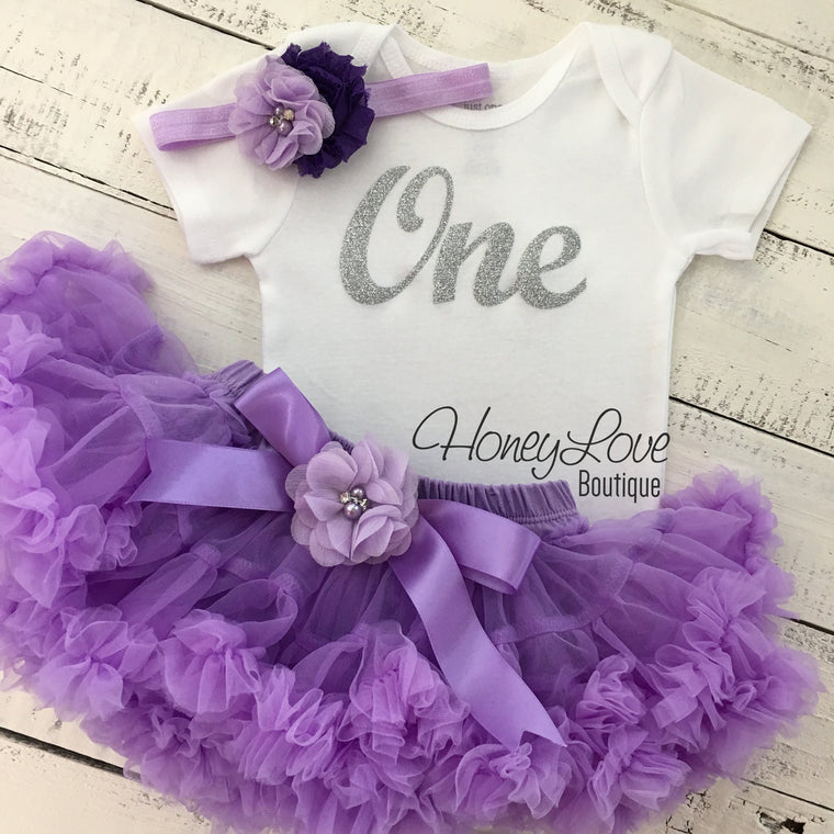 One - Birthday Outfit - Lavender Purple and Silver/Gold Glitter - embellished pettiskirt - HoneyLoveBoutique