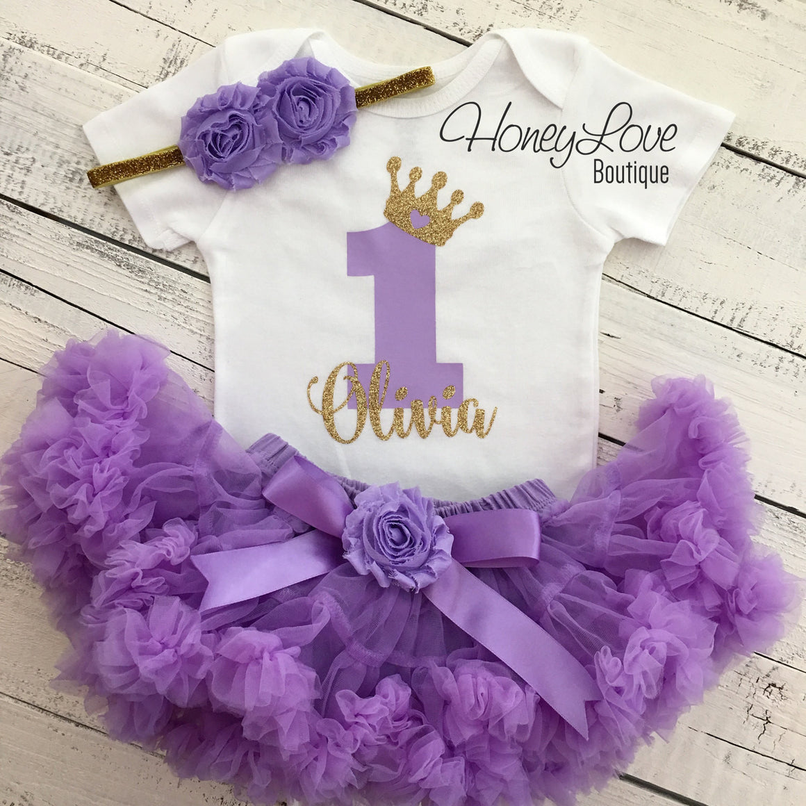 Personalized 1st Birthday Princess outfit - Gold glitter and Lavender Purple - embellished pettiskirt - HoneyLoveBoutique