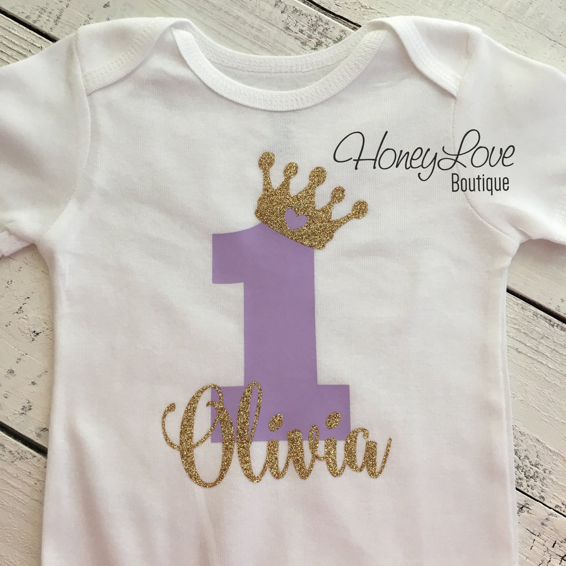 Personalized First Birthday Princess Bodysuit - Lavender Purple and Gold glitter - HoneyLoveBoutique