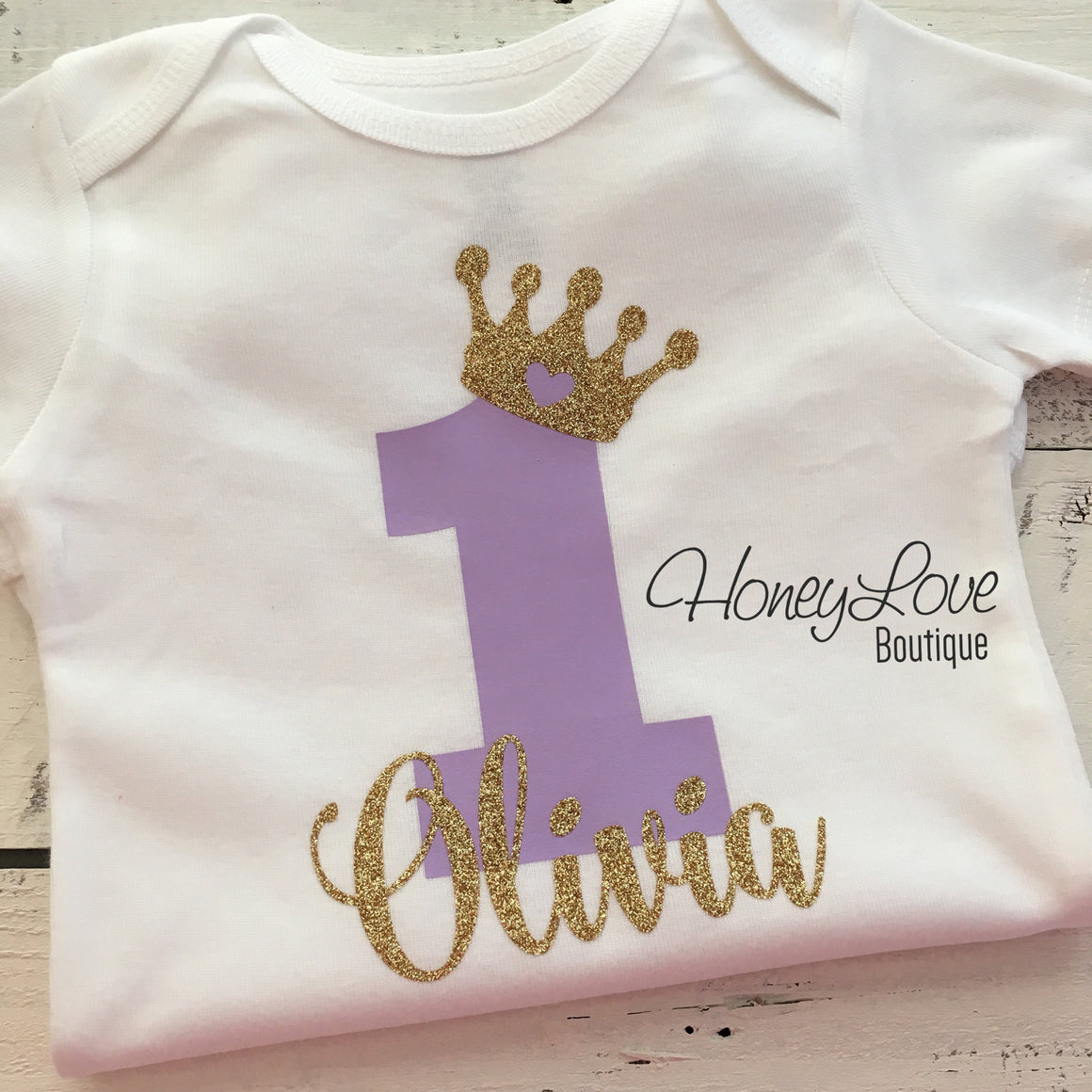 Personalized First Birthday Princess Bodysuit - Lavender Purple and Silver glitter - HoneyLoveBoutique