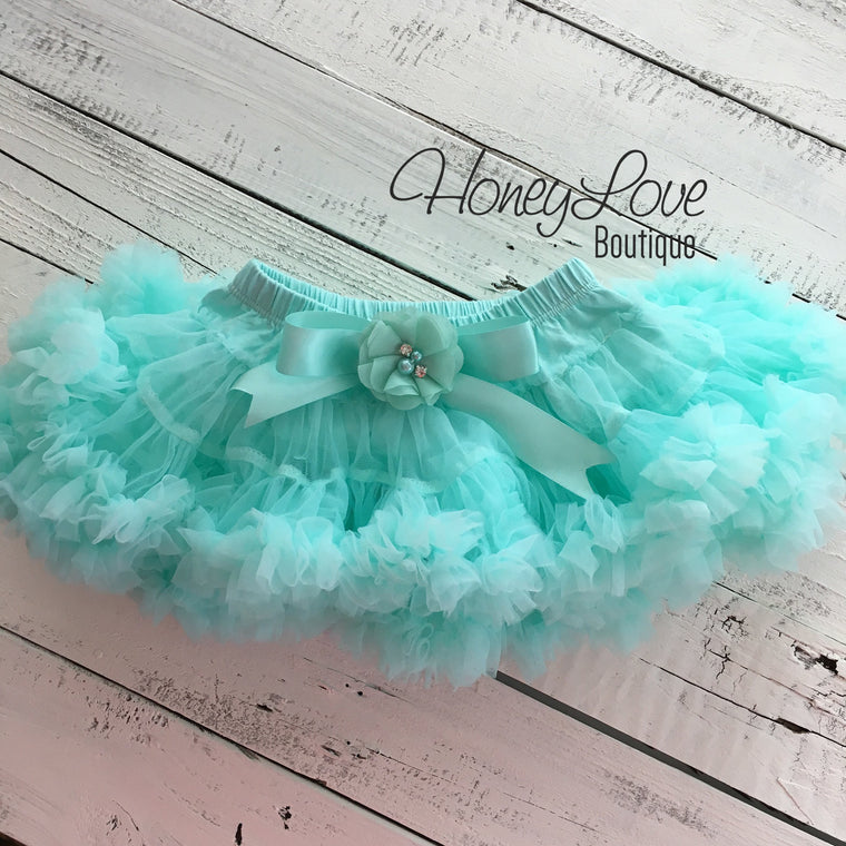 Mint/Aqua Pettiskirt - embellished flower - HoneyLoveBoutique