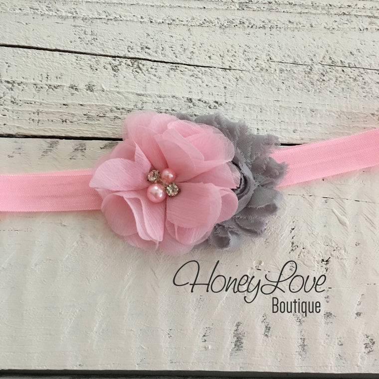 Light Pink and Gray flower headband - HoneyLoveBoutique