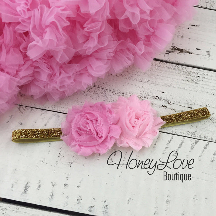 Light Pink double flower headband  - Gold or Silver glitter elastic