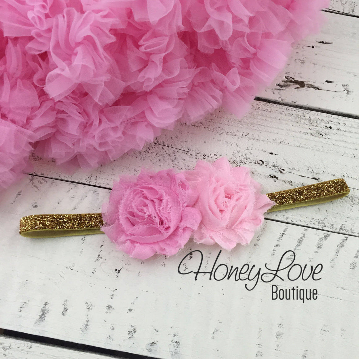 Light Pink double flower headband  - Gold or Silver glitter elastic - HoneyLoveBoutique