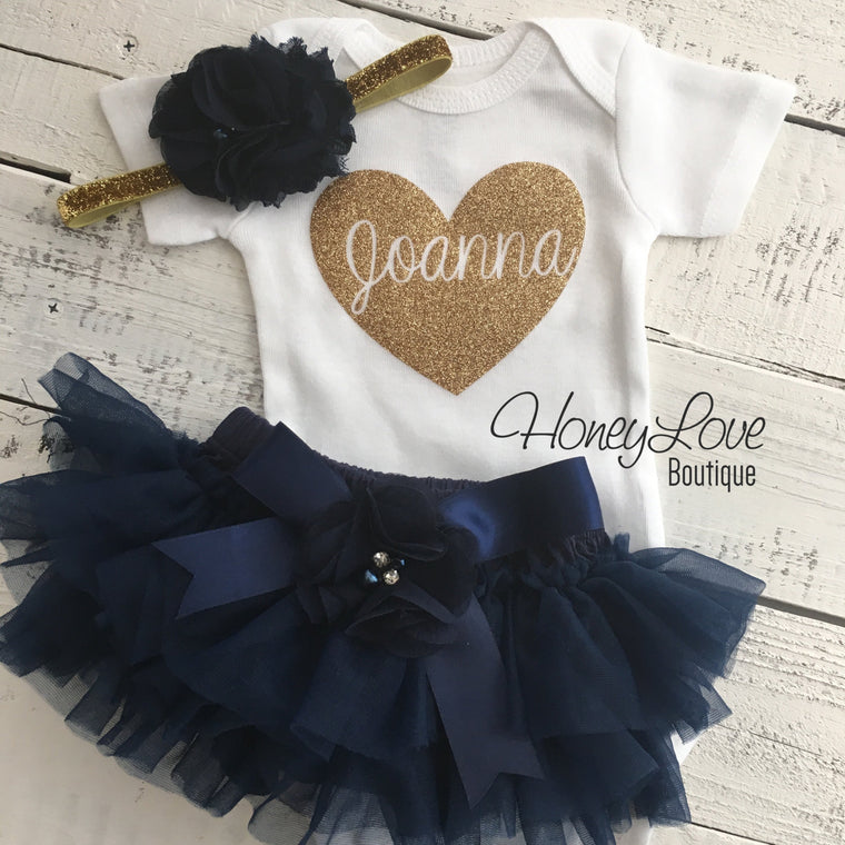 PERSONALIZED Name in heart outfit - Gold glitter and Navy - embellished tutu skirt bloomers - HoneyLoveBoutique