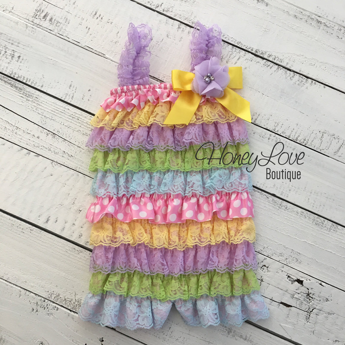 Satin & Lace Petti Romper - Easter Pastels - with lavender flower embellishment