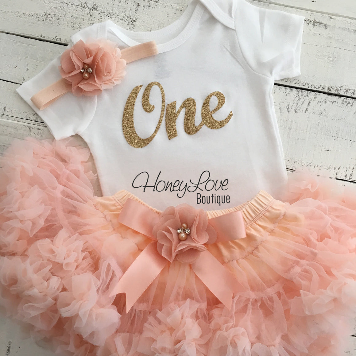 One - Birthday Outfit - Gold glitter and Peach - embellished pettiskirt
