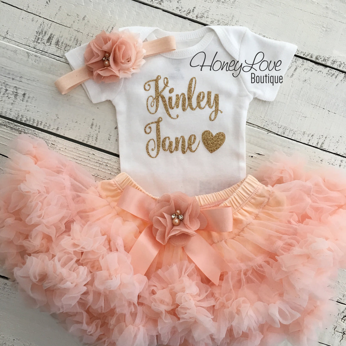 PERSONALIZED Name Outfit - Gold Glitter and Peach Pettiskirt - embellished pettiskirt - HoneyLoveBoutique