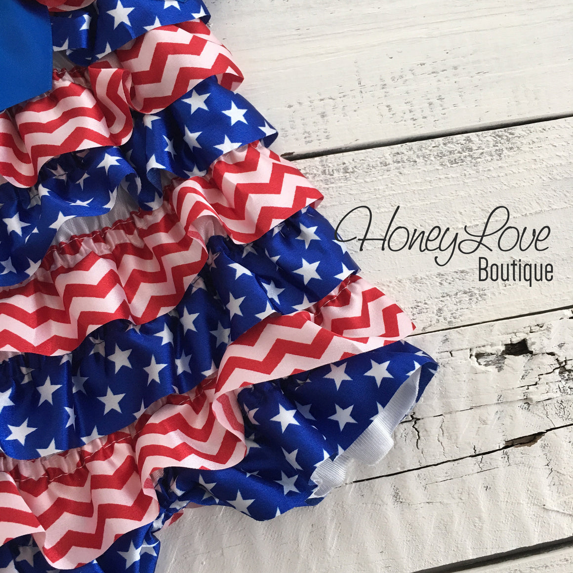 Satin & Lace Petti Romper - Patriotic, Stars - Red, White and Blue - with flower embellishment - HoneyLoveBoutique