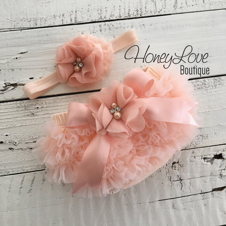 Peach ruffle bottom bloomers and peach headband - embellished bloomer - HoneyLoveBoutique