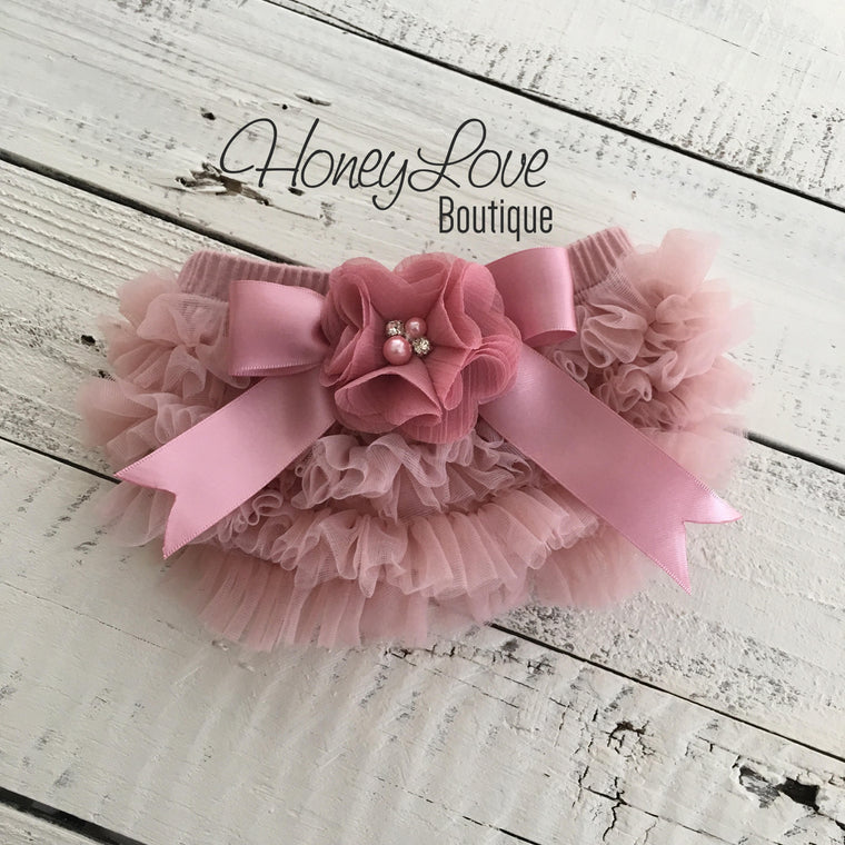 Vintage Pink Ruffle Bottom Bloomers - embellished flower - HoneyLoveBoutique