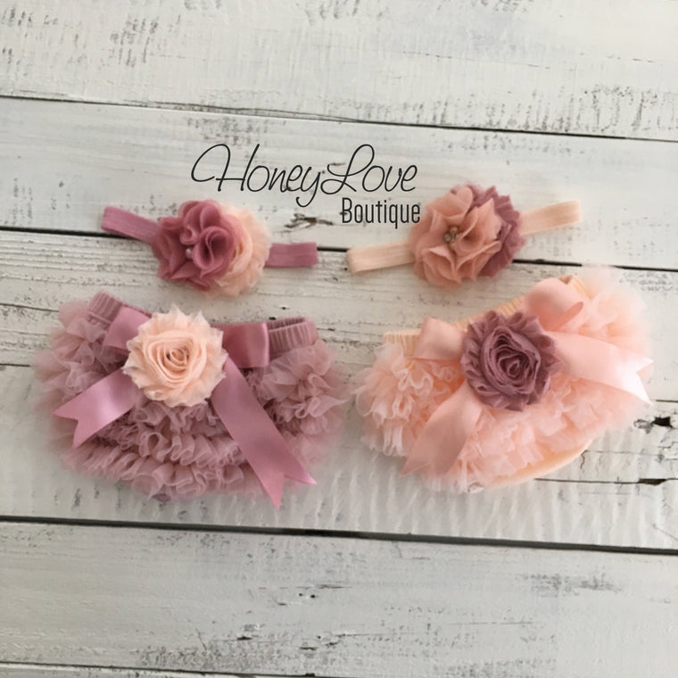 TWIN GIRLS! Peach and Vintage Pink ruffle bottom bloomers and matching headbands - embellished bloomers - HoneyLoveBoutique