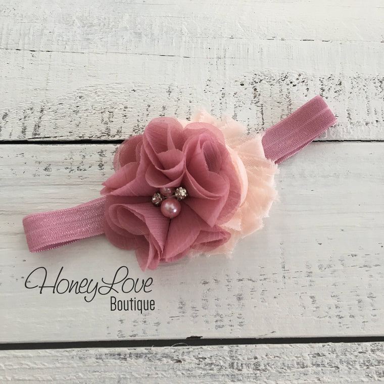 Vintage Pink and Peach shabby chiffon flower rhinestone/pearl headband - HoneyLoveBoutique