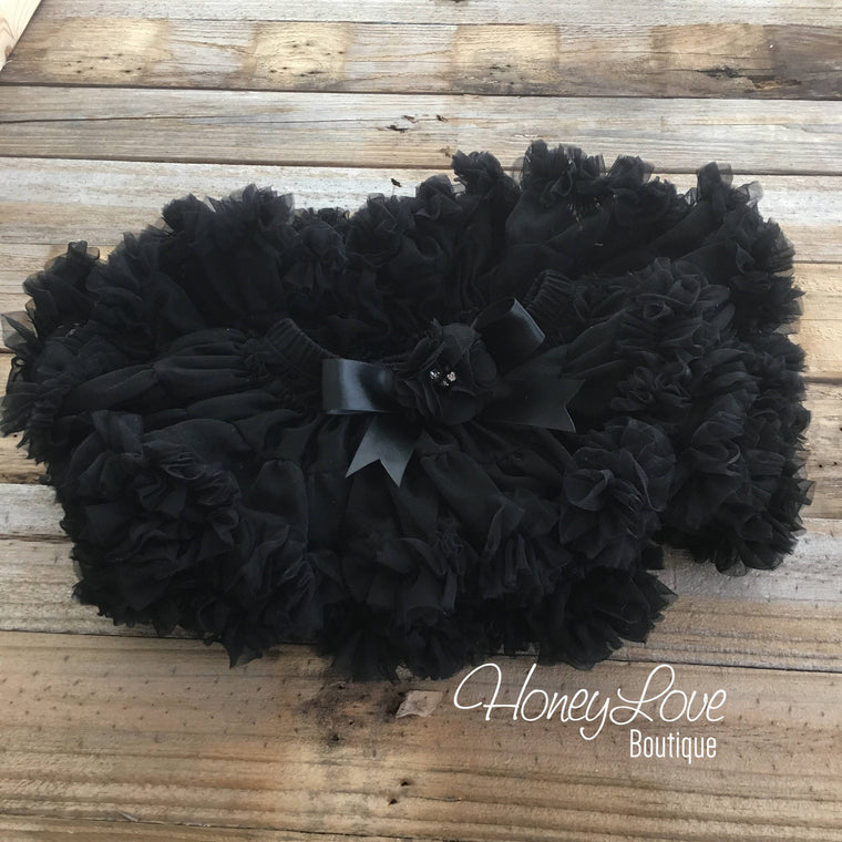 Black Pettiskirt - embellished flower - HoneyLoveBoutique