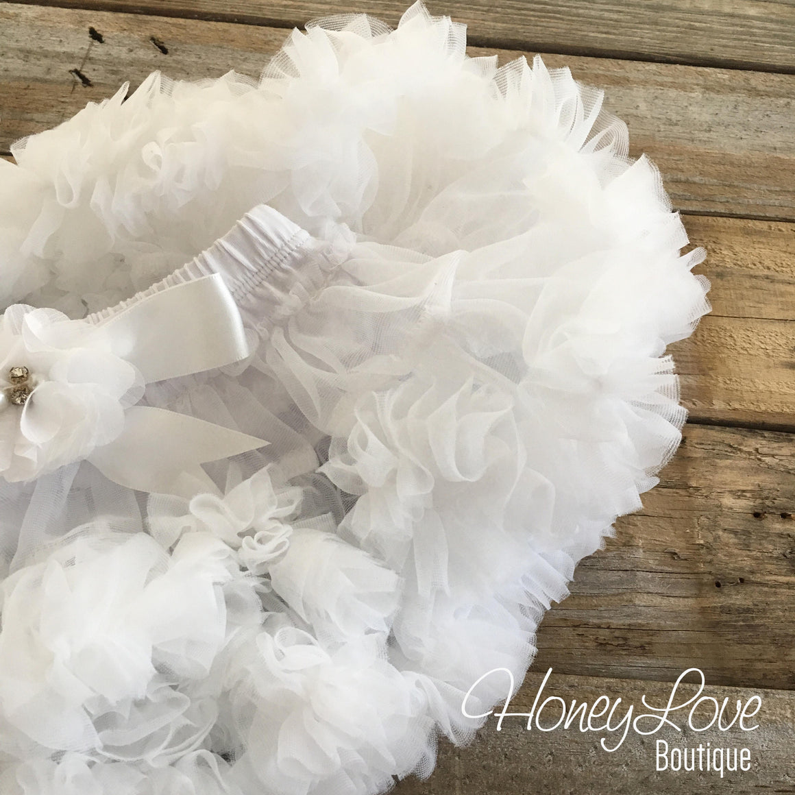White Pettiskirt - embellished flower - HoneyLoveBoutique