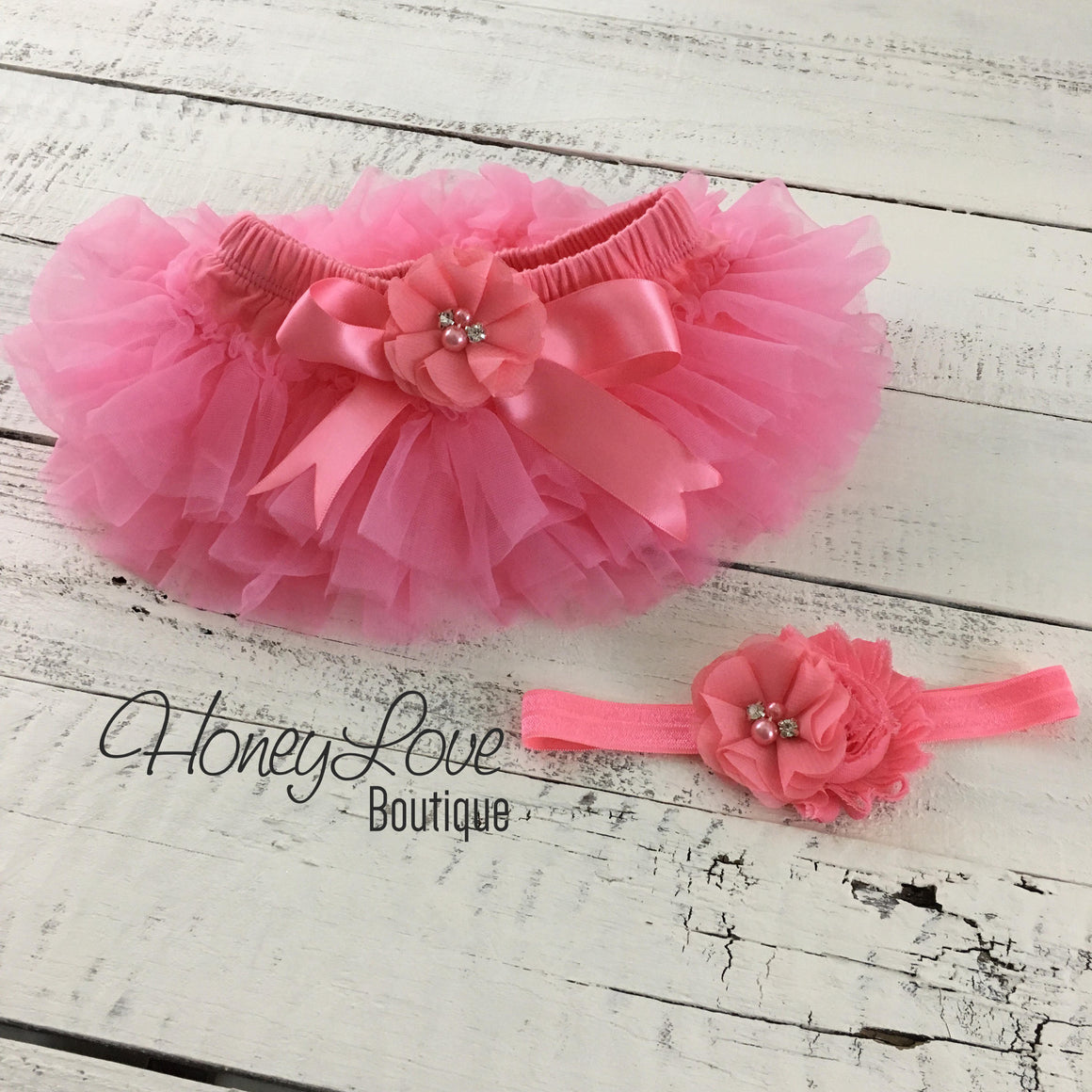 Coral Pink embellished tutu skirt bloomers and matching headband - HoneyLoveBoutique