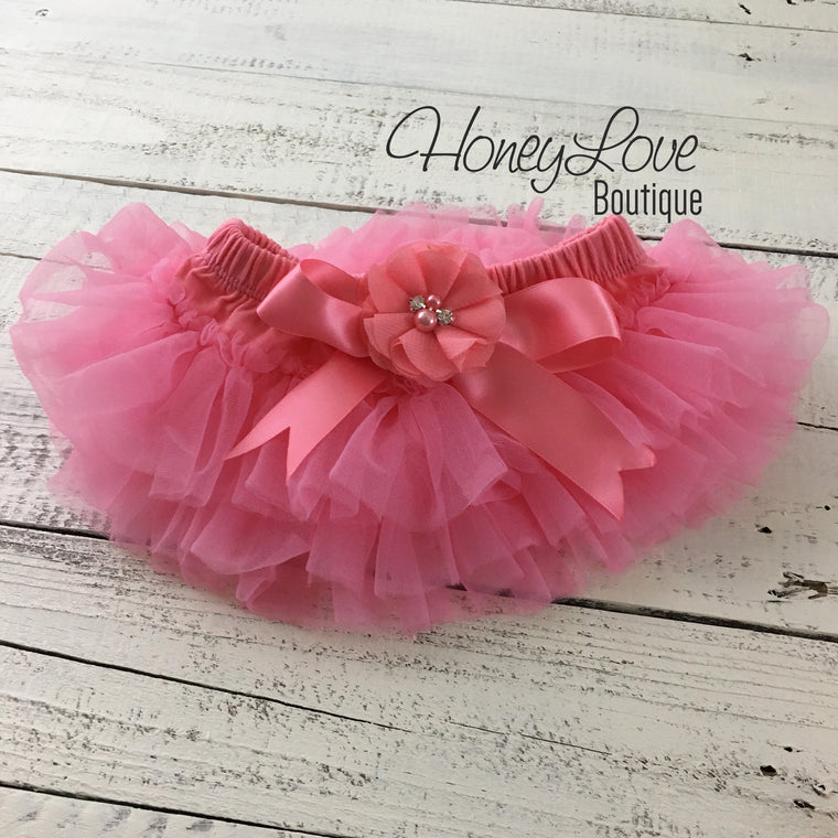 Coral Pink tutu skirt bloomers - embellished Coral pink rhinestone/pearl flower - HoneyLoveBoutique