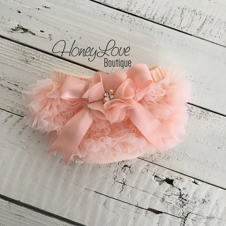 Peach Ruffle Bottom Bloomers - embellished bloomers - HoneyLoveBoutique