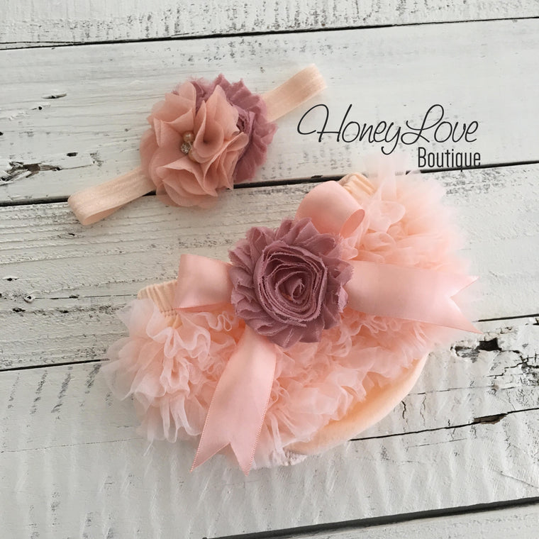 Peach ruffle bottom bloomers - vintage pink and peach headband - embellished flower - HoneyLoveBoutique