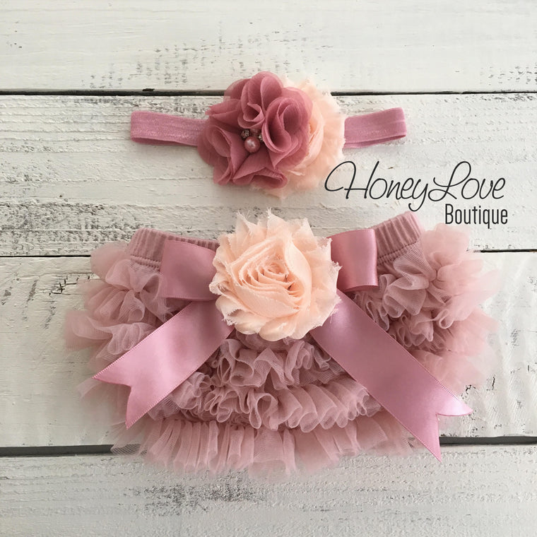Vintage Pink ruffle bottom bloomers and vintage pink/peach flower headband - embellished flower
