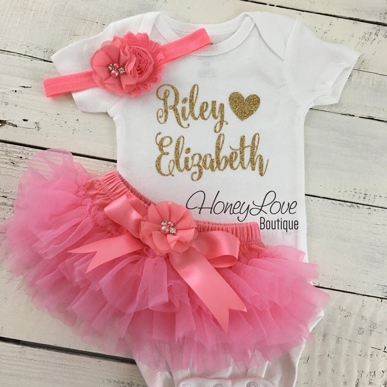 PERSONALIZED Name Outfit - Coral Pink and Gold Glitter - Coral flower embellished tutu skirt bloomers - HoneyLoveBoutique