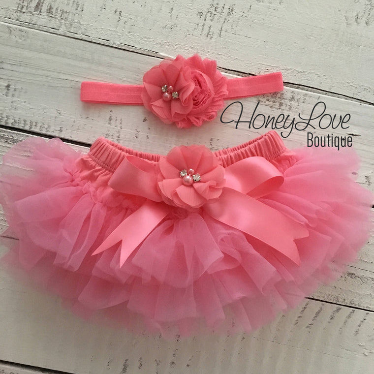 Coral Pink embellished tutu skirt bloomers and matching headband