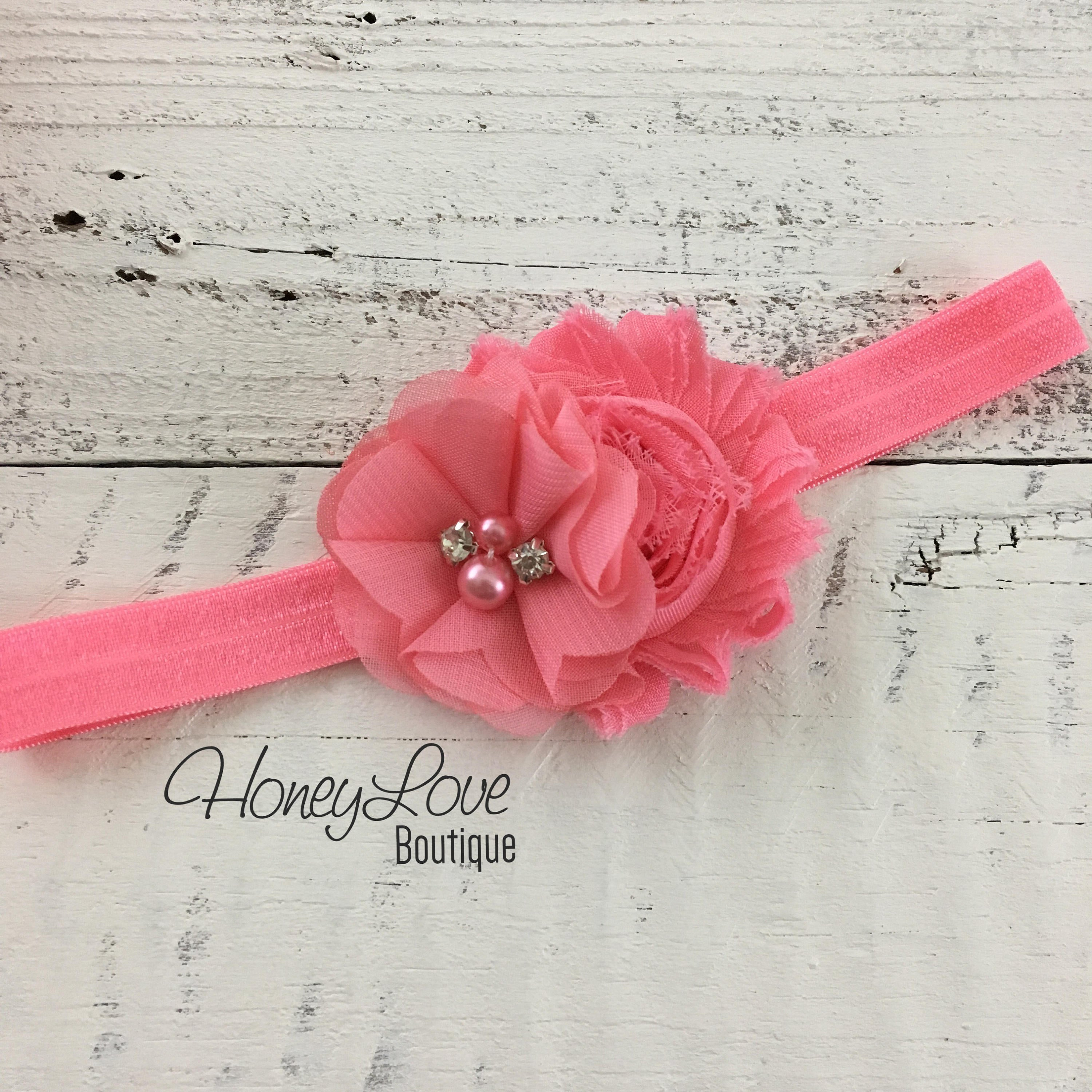 Coral Pink And Coral Shabby Chiffon Flower Headband Honeyloveboutique