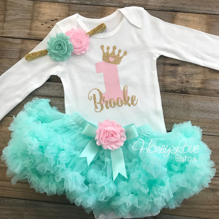 Personalized 1st Birthday Princess Outfit - Gold Glitter, Light Pink and Mint/Aqua - embellished pettiskirt - HoneyLoveBoutique