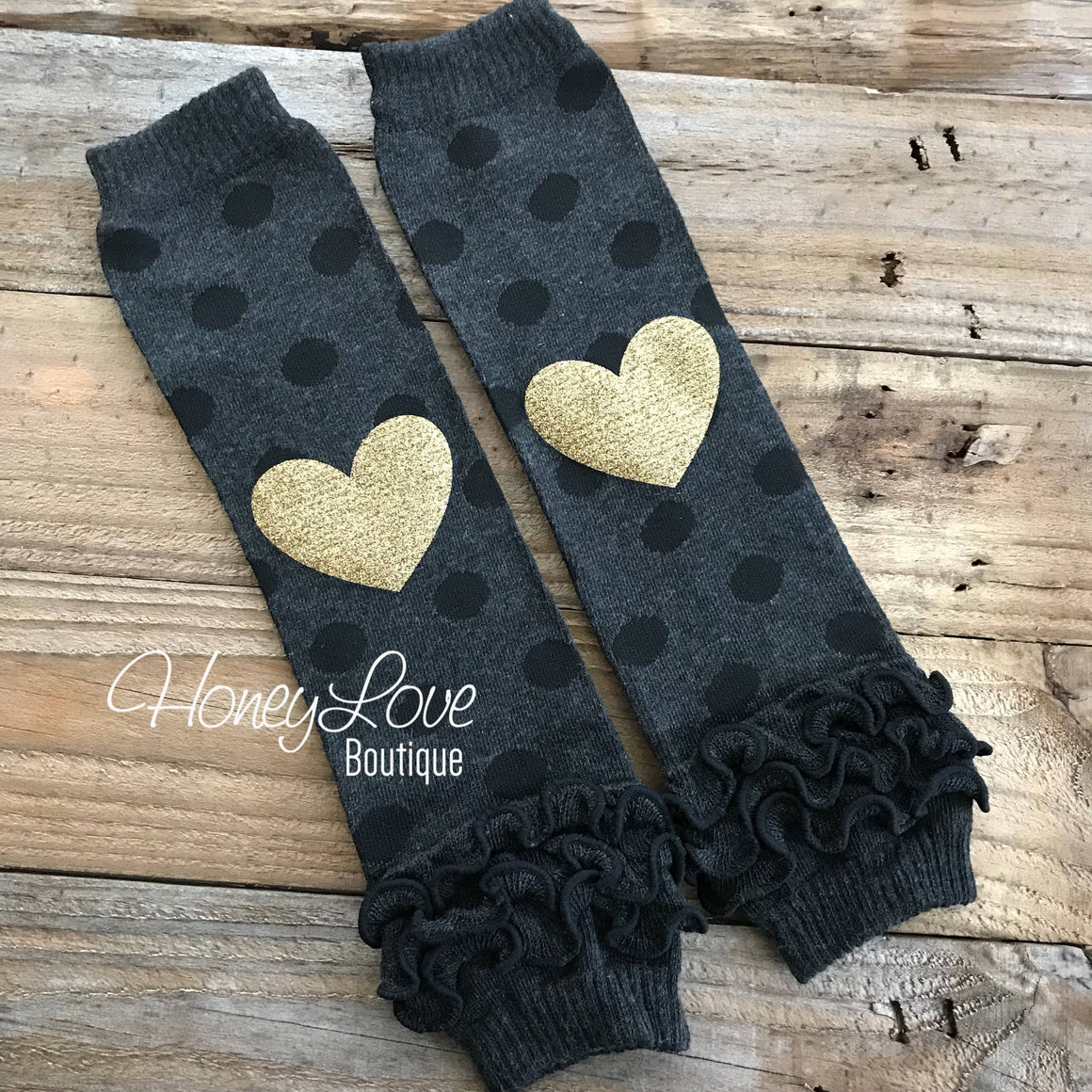 Gray/Black Polka Dot Leg Warmers with Gold Glitter Heart and matching headband - HoneyLoveBoutique