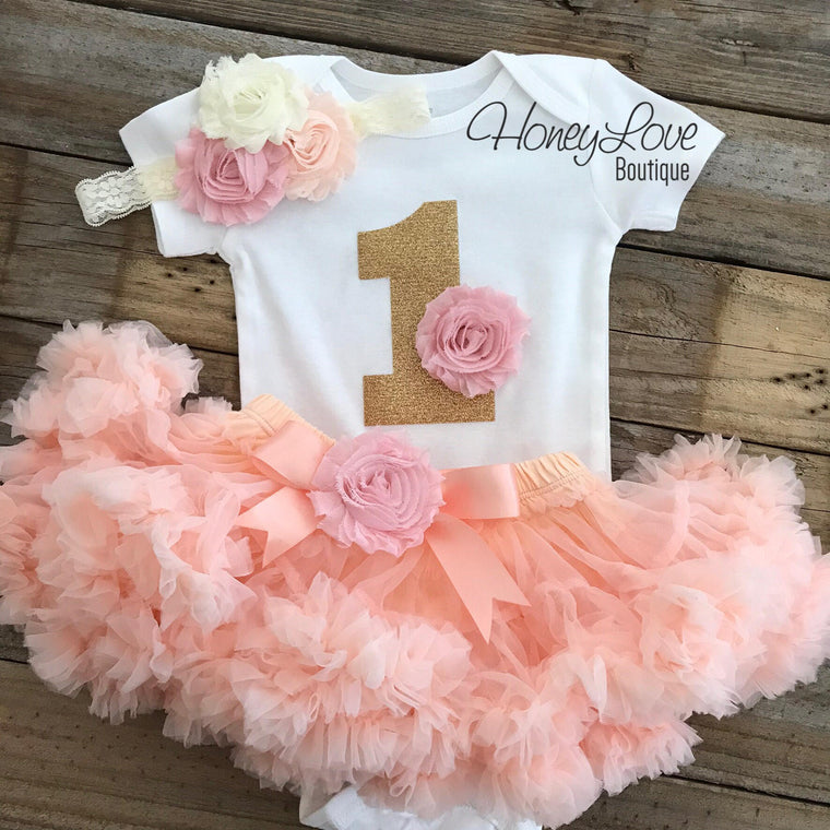 1st Birthday Outfit - Peach, Blush Pink and Ivory - embellished pettiskirt - HoneyLoveBoutique