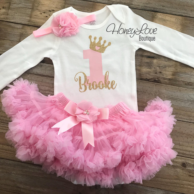 Personalized 1st Birthday Princess outfit - Light Pink and Gold Glitter - embellished pettiskirt - HoneyLoveBoutique