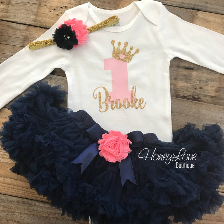 Personalized 1st Birthday Princess outfit - Gold Glitter and Navy Blue - embellished pettiskirt - HoneyLoveBoutique
