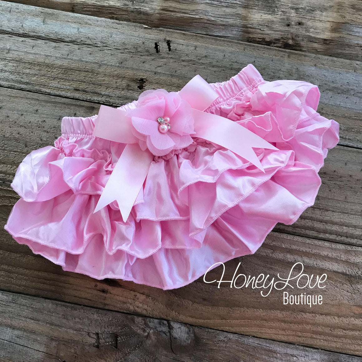 Light Pink Satin Ruffled bloomers - embellished bloomers - HoneyLoveBoutique