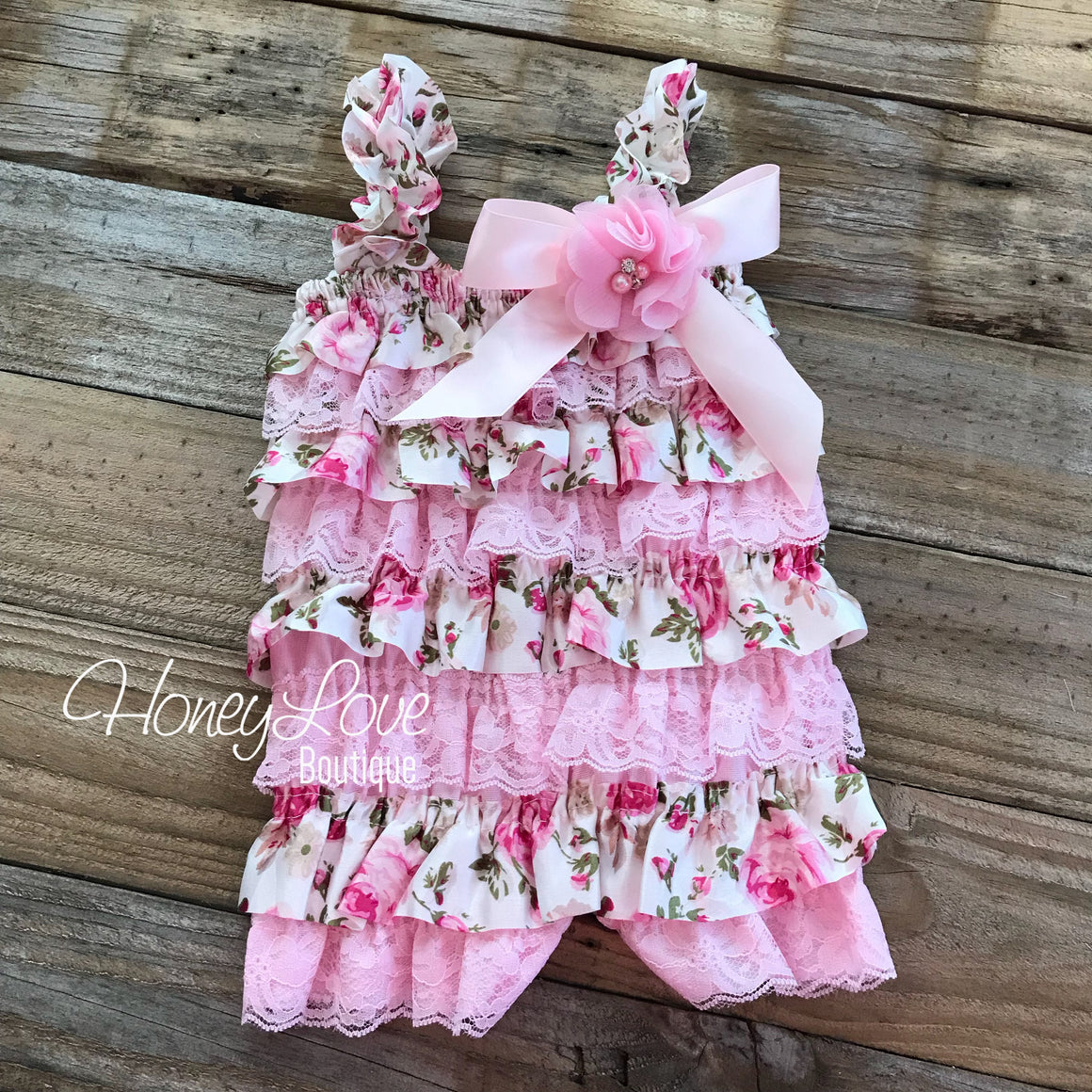 Satin & Lace Petti Romper - Pink and Floral  - with pink flower embellishment - HoneyLoveBoutique