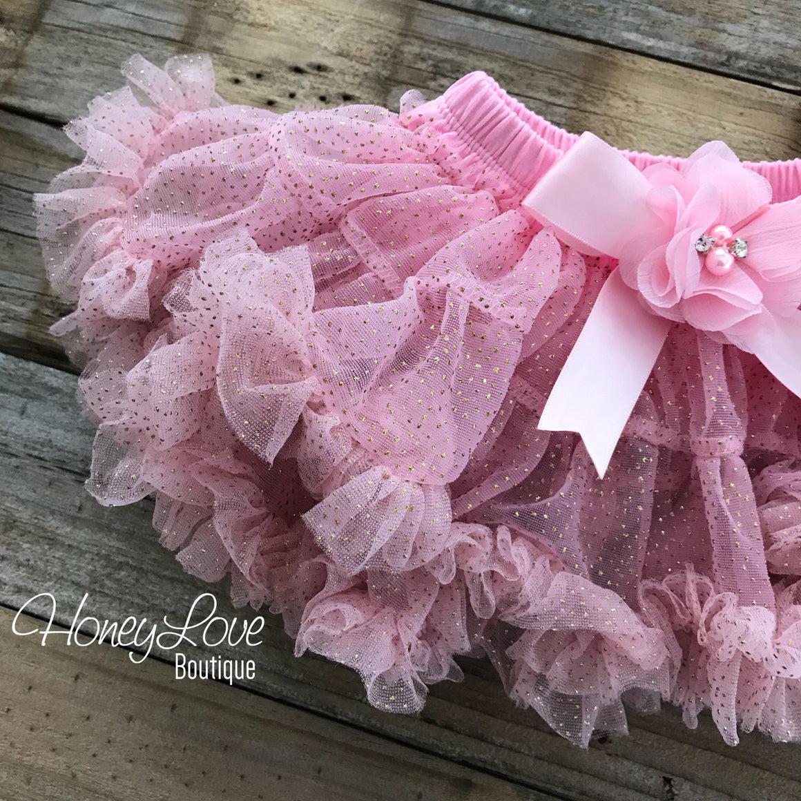 Light Pink and Gold Glitter pettiskirt embellished flower bow, petti skirt tutu birthday photo shoot newborn infant baby toddler little girl - HoneyLoveBoutique