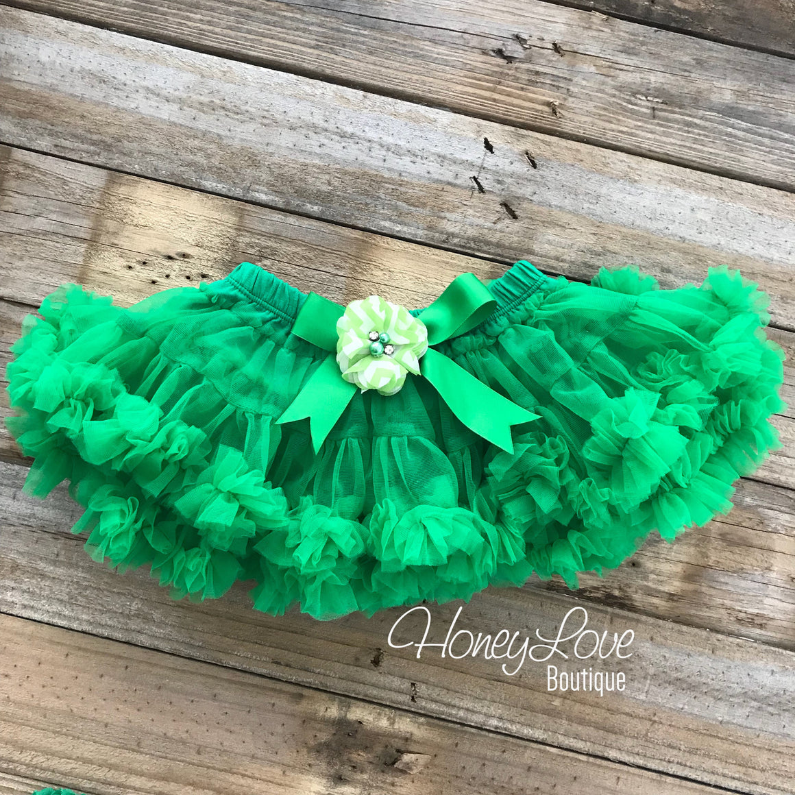 Kelly Green Pettiskirt - embellished rhinestone/pearl chevron flower - HoneyLoveBoutique
