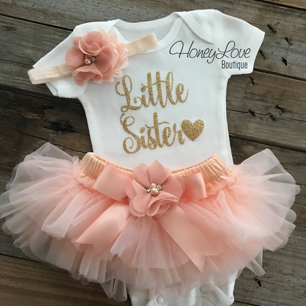 Little Sister - Peach and Gold Glitter - HoneyLoveBoutique