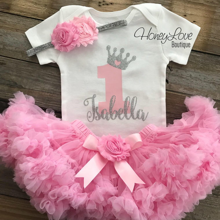 Personalized 1st Birthday Princess outfit - Silver Glitter and Light Pink - embellished pettiskirt - HoneyLoveBoutique