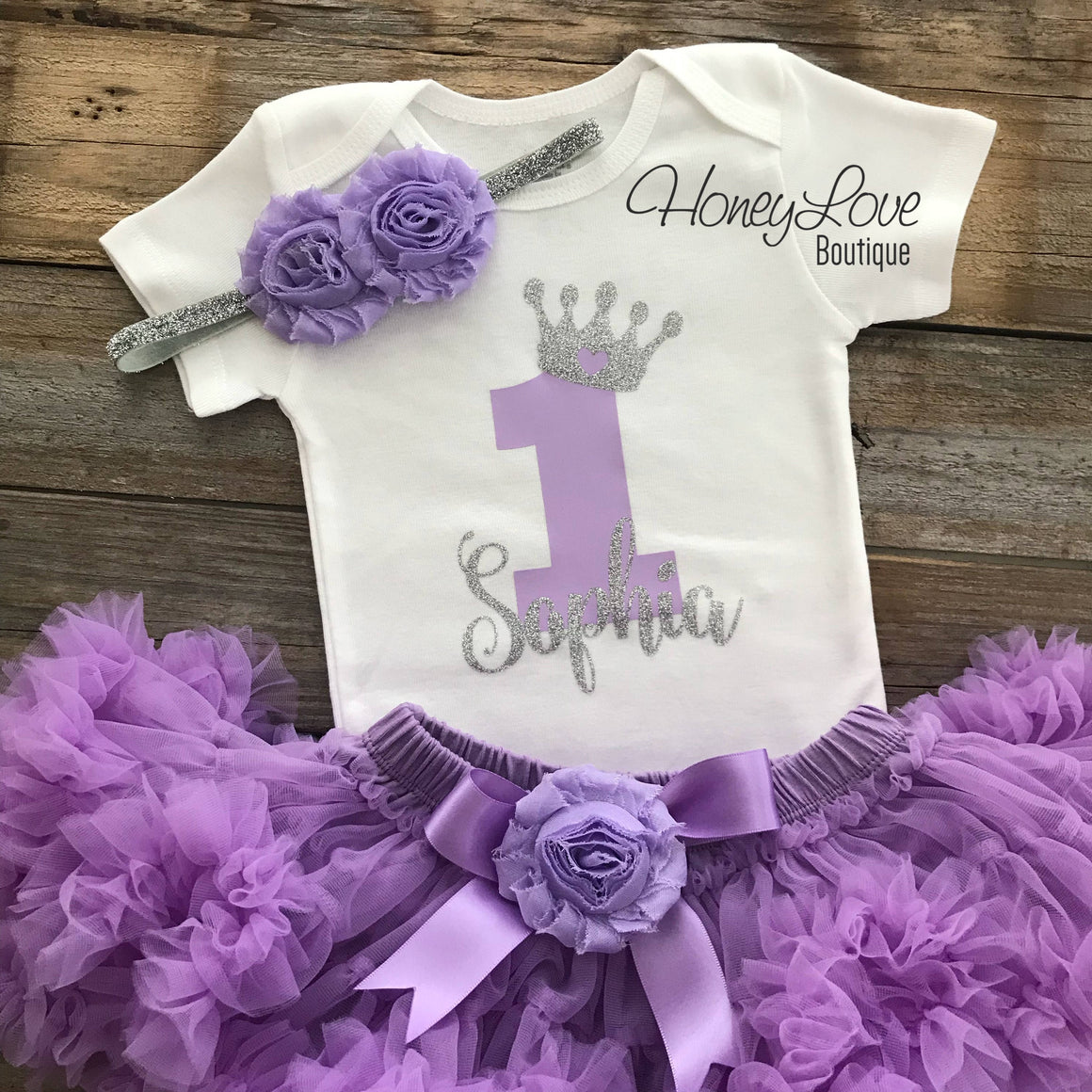 Personalized 1st Birthday Princess outfit - Silver glitter and Lavender Purple - embellished pettiskirt - HoneyLoveBoutique