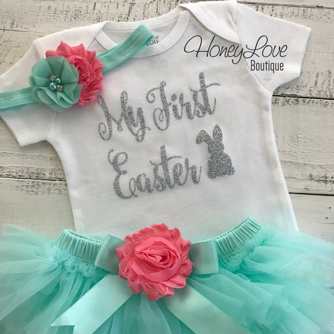 My First Easter outfit set baby girl SILVER or Gold glitter Easter Bunny bodysuit shirt coral pink mint aqua tutu skirt bloomer headband bow - HoneyLoveBoutique