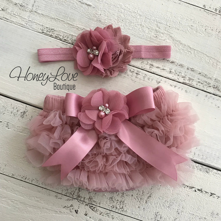 Vintage Pink ruffle bottom bloomers and headband - embellished bloomers