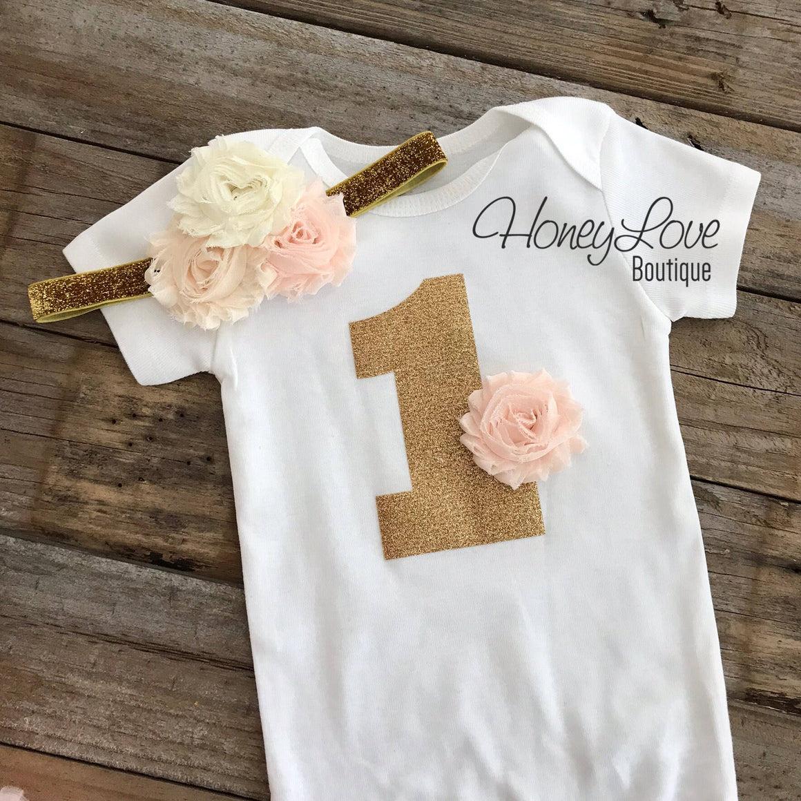 1st Birthday Outfit - Peach, Ivory and Gold - embellished pettiskirt - HoneyLoveBoutique