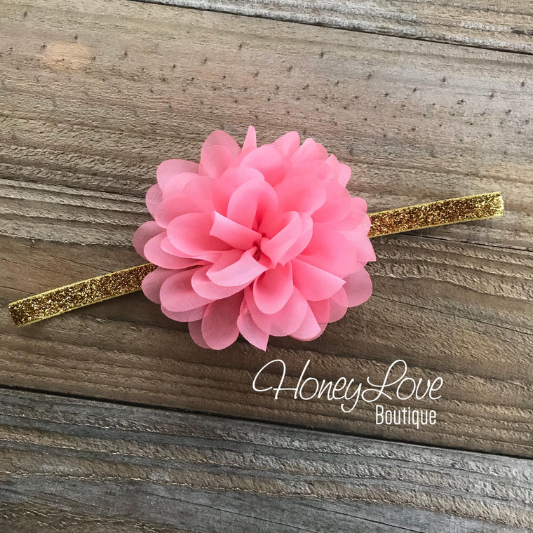 Coral Pink fluffy chiffon flower headband  - SILVER/GOLD glitter elastic - HoneyLoveBoutique