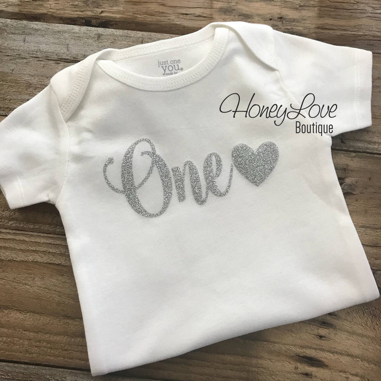 One with heart - Silver glitter bodysuit - HoneyLoveBoutique