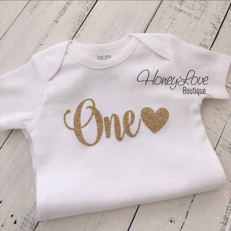 One with heart - Gold glitter bodysuit - HoneyLoveBoutique