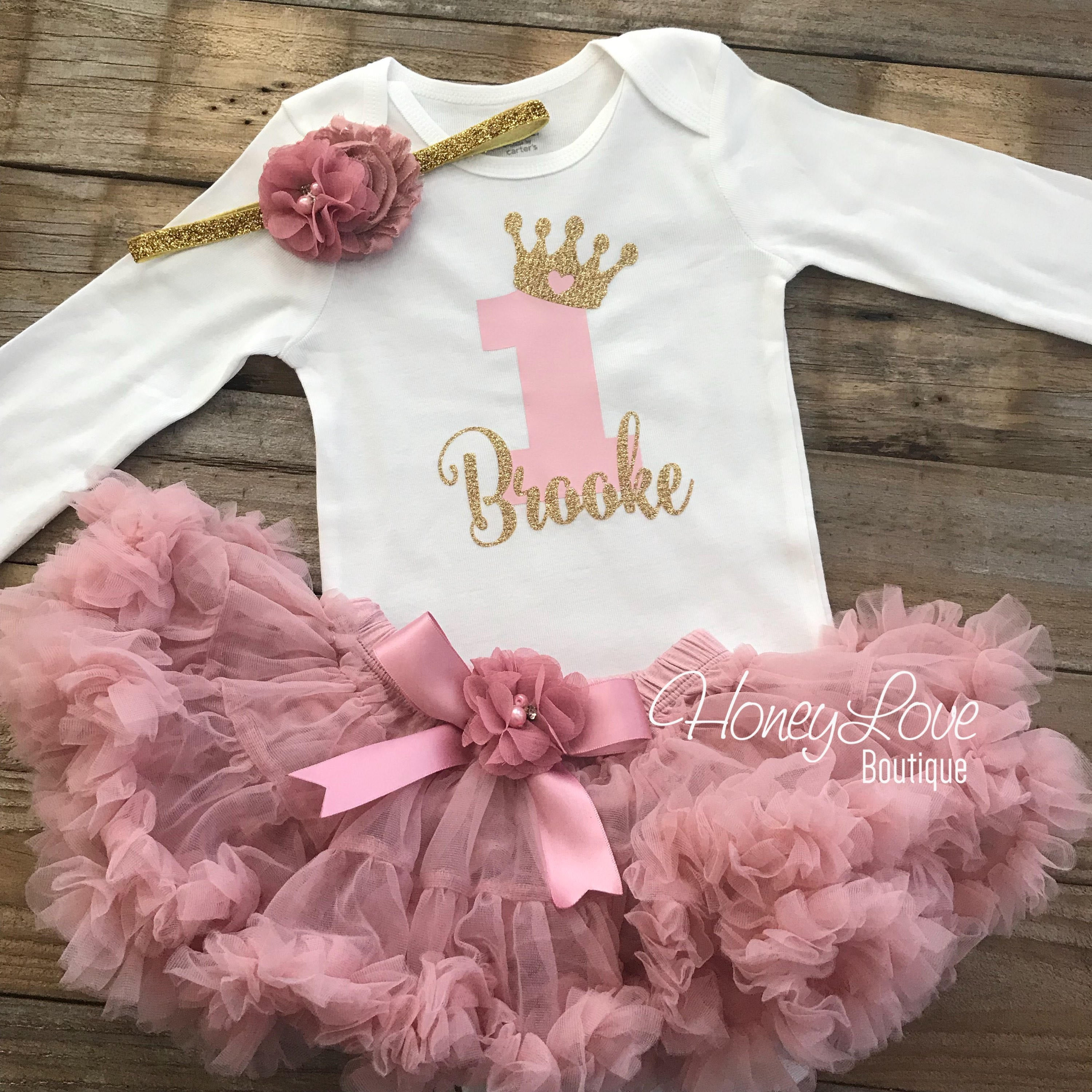 1st Birthday Princess Dress.Personalized 1st Birthday Princess Outfit Gold Glitter And Vintage Pink Embellished Pettiskirt