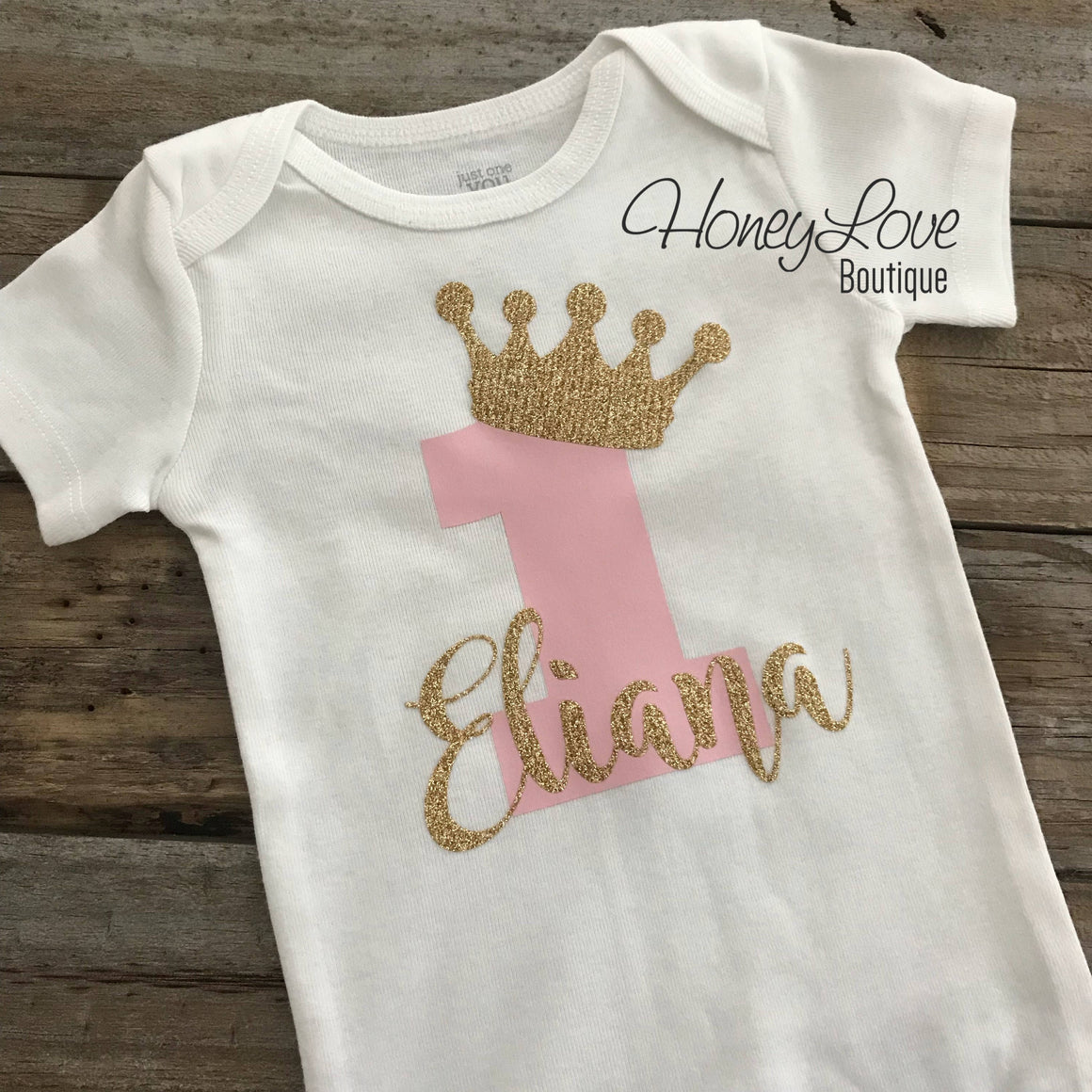 Personalized 1st Birthday Princess outfit - Gold Glitter and Coral Pink - embellished pettiskirt - HoneyLoveBoutique